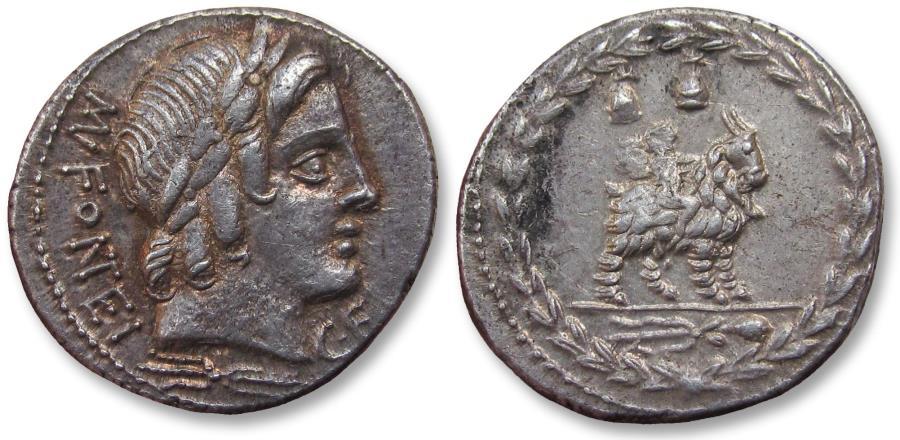Ancient Coins - AR denarius Mn. Fonteius C.f. Rome, 85 BC - sharp & beautifully toned -