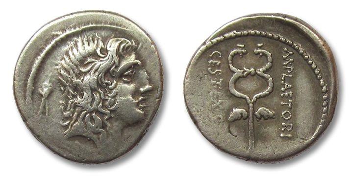 Ancient Coins - HS: AR denarius M. Plaetorius Cestianus, Rome 69 B.C.
