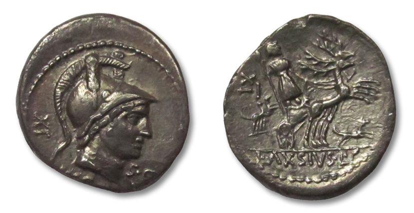 Ancient Coins - AR denarius L. Axsius (= Axius) L.f. Naso, Rome 71 B.C.