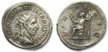 Ancient Coins - AR antoninianus Philip I 'the Arab', Rome mint 244-247 A.D. -- Virtus seated left