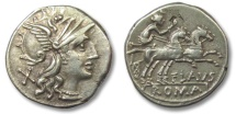 Ancient Coins - HS: AR denarius Decimius Flavus, Rome 150 B.C.