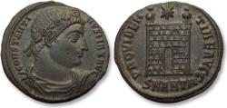 Ancient Coins - AE follis Constantine I, Antioch mint 329-330 A.D. -- MAX title, SMANTA, 9 tiered campgate --