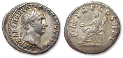 Ancient Coins - AR denarius Trajan / Trajanus, Rome mint AD 98-99 - Vesta seated left -