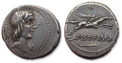 Ancient Coins - AR denarius L. Calpurnius Piso L.f. Frugi - Rome mint 90 B.C. - control numbers C and V -