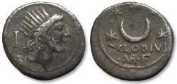Ancient Coins - AR denarius P. Clodius M.f. Turrinus, Rome 42 B.C. -- orginal find patina --