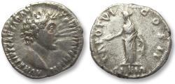 Ancient Coins - AR denarius Marcus Aurelius as Caesar, Rome 151-152 A.D. -- Clementia standing left --