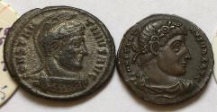 Ancient Coins - Group of 2 Æ Folles Constantine I 306-337 AD - great quality, with original sales tickets, Thessalonica & Antioch mint