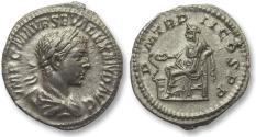 Ancient Coins - AR denarius Severus Alexander, Rome 223 A.D. -- Salus seated left --