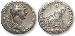 Ancient Coins - AR denarius Trajan / Trajanus, Rome 116-117 A.D. -- FORT RED, Fortuna seated left --