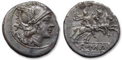 Ancient Coins - AR denarius anonymous issue, after 211 B.C. -- heavy weight --