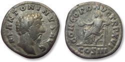 Ancient Coins - AR denarius Marcus Aurelius, Rome 162 A.D. -- Concordia seated left --
