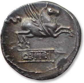 Ancient Coins - AR denarius Q. Titius. Rome 90 B.C. - nicely centered  complete strike on both sides & beautifully toned -