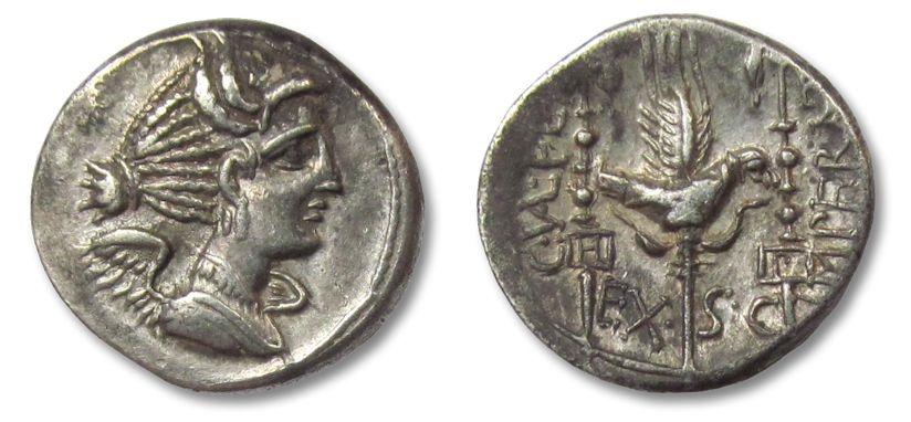 Ancient Coins - AR denarius C.Valerius Flaccus, Massalia 82 B.C.