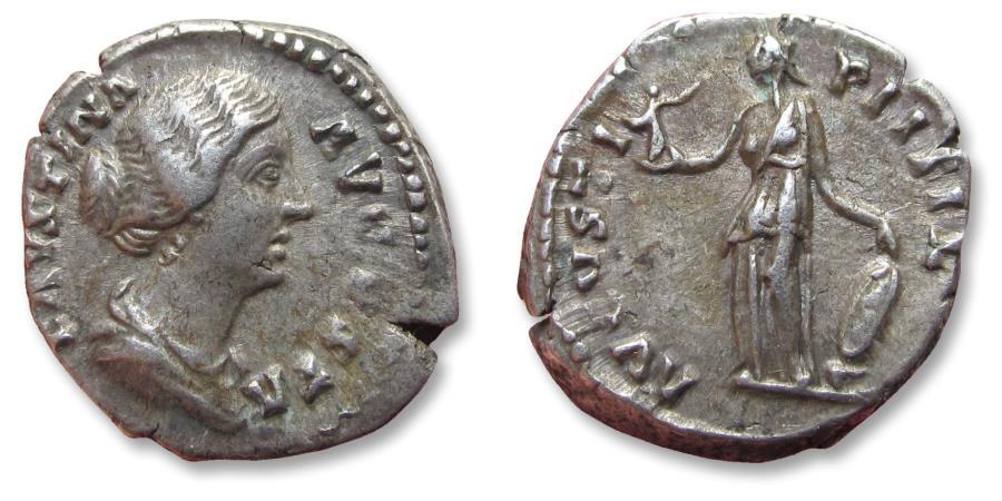Ancient Coins - AR denarius Faustina Junior, struck under Antoninus Pius. Rome mint 157-161 A.D. - AVGVSTI P II FIL, Venus standing left -