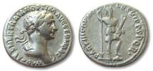 Ancient Coins - AR denarius Trajan / Trajanus, Rome 114-117 -- MARS standing right--