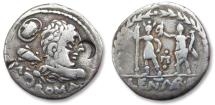 Ancient Coins - AR denarius P. Cornelius Lentulus Marcellinus, Rome 100 B.C.