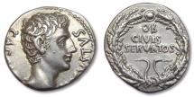 Ancient Coins - AR denarius Augustus, Colonia Patricia, 19 B.C. -- beauty --