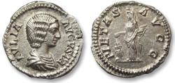 Ancient Coins - AR denarius Julia Domna, Rome 200-207 A.D. -- PIETAS AVG, beauty --