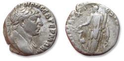 Ancient Coins - AR drachm Trajan / Trajanus, Arabia, Bostra mint circa 113 A.D. - Arabia with camel standing left