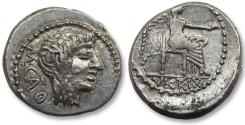 Ancient Coins - AR Quinarius, M. Porcius Cato. Rome 89 B.C. - beautiful sharp strike -