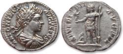 Ancient Coins - AR Denarius, emperor Caracalla - beautiful young portrait - Rome mint 199-201 A.D. -