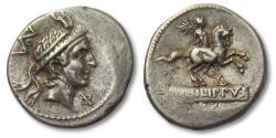 Ancient Coins - AR denarius L. Marcius Philippus, Rome 113-112 B.C. -hints of gold irridescence-