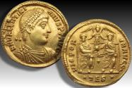 AV gold solidus Valentinian I, Thessalonica mint circa 364 A.D. - sharply struck with signs of doublestrike -