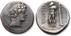 Ancient Coins - AR Denarius, L. Marcius Censorinus, Rome 82 B.C.