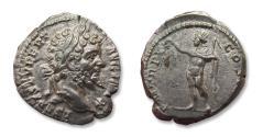 Ancient Coins - AR Denarius, Septimius Severus, Laodicea mint 198 A.D. - P M TR P VI COS II P P, Sol standing left -