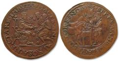 World Coins - AE jeton 1585 Spanish Netherlands: Elizabeth I gives assistance to the Dutch