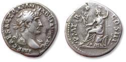 Ancient Coins - AR denarius, Hadrian / Hadrianus - Rome 119-122 A.D. - P M TR P COS III, Roma seated left -