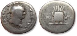 Ancient Coins - AR denarius Vespasianus / Vespasian, Rome 77-78 A.D. -- modius with 7 ears of grain --