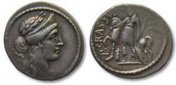 Ancient Coins - AR denarius P. Licinius M.f. Crassus, Rome 55 B.C.