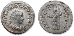 Ancient Coins - AR antoninianus, Philip II as Caesar, Rome 244-247 A.D. - PRINCIPI IVVENT, Philip II as Princeps Iuventutis standing left, WITHOUT captive