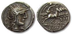 Ancient Coins - AR Denarius, L. Opimius / Opeimius, Rome 131 B.C. - beautiful sharp strike for the type -