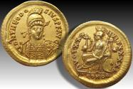 Gold solidus Theodosius II, Constantinople mint AD 430- 440 - beautiful centered & toning
