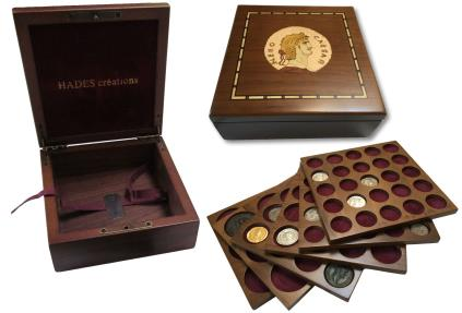 Ancient Coins - Small walnut veneered coin case decorated with portrait of emperor NERO - holds 30-150 coins (depending on tray choice)-