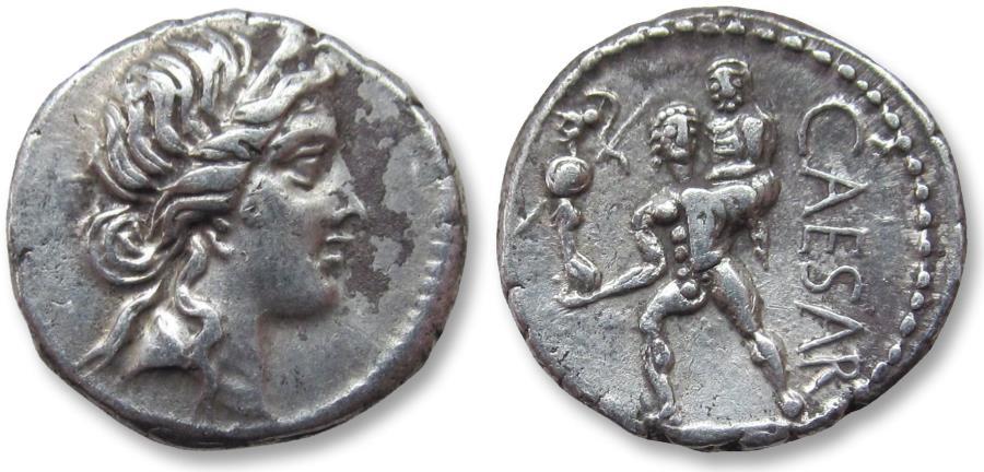 Ancient Coins - AR denarius C. Julius Caesar, military mint with Caesar in North Africa 47-46 B.C.