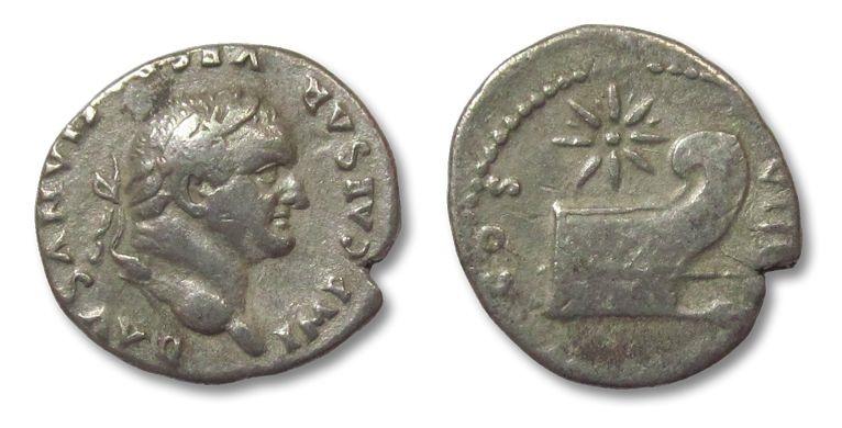 Ancient Coins - HS: AR denarius Vespasianus, Rome 77-78 A.D. --PROW--