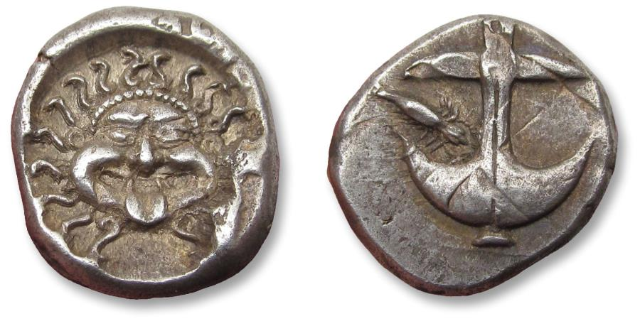 Ancient Coins - Thrace, Apollonia Pontika. 15mm AR drachm, circa 450-350 B.C.