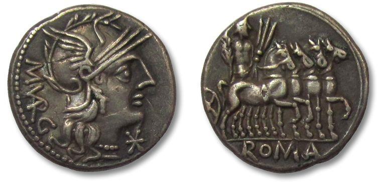 Ancient Coins - HS: AR denarius M. Vargunteius, Rome 130 B.C.