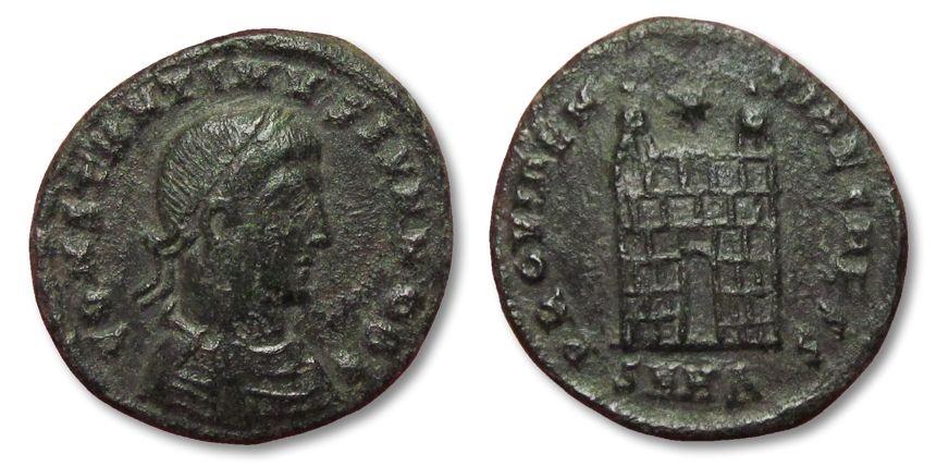 Ancient Coins - MO: AE follis Constantine II, Heraclea 325-326 A.D. -- camp-gate --