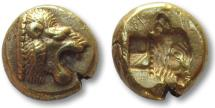 Ancient Coins - EL Hekte Lesbos, Mytilene 521-478 B.C.-- head of lion right, head of calf right --