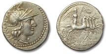 Ancient Coins - HS: AR denarius. Tullius, Rome 120 B.C.