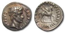 Ancient Coins - AR denarius Augustus, P. Petronius Turpilianus (moneyer), Rome 19-18 B.C. -irridescent toning-