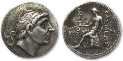 Ancient Coins - AR tetradrachm Seleucid Kingdom Antiochus I Soter, struck under Antiochus II Theos, ca. 280-261 B.C.