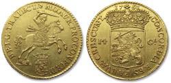 """Ancient Coins - AV/AU Dutch 14 gulden / guilder """"gold rider"""" (gouden rijder), Utrecht 1751 -- superb condition! -"""