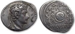 Ancient Coins - AR denarius Octavian as Augustus, Spanish mint (Tarraco?) 20-16 B.C. -- great portrait --