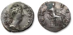 Ancient Coins - AR denarius Faustina Senior, Rome after 141 A.D. - AVGVSTA, veiled Vesta or Iuno seated right -