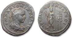 Ancient Coins - AR antoninianus, Elagabalus, Rome mint 219-220 A.D. - IOVI CONSERVATORI, Jupiter w eagle and standards -